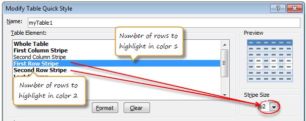 Customizing table style - set stripe sizes