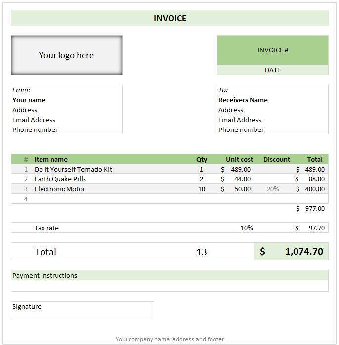 Free invoice template using MS Excel - download