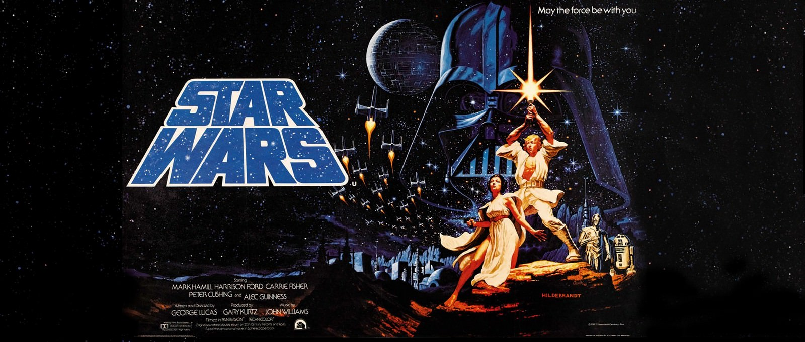 Movie, Star Wars Episode IV: A New Hope(美國, 1977) / 星際大戰四部曲:曙光乍現(台灣) / 星球大战IV:新希望(中國) / 星球大戰:新的希望(香港), 電影海報, 美國, 橫版