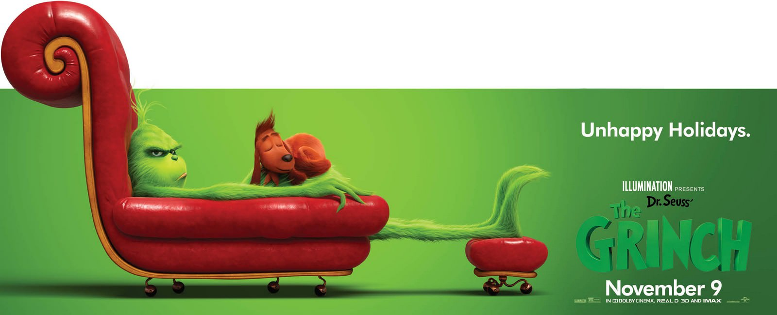 Movie, The Grinch(美國, 2018年) / 鬼靈精(台灣) / 绿毛怪格林奇(中國) / 聖誕怪怪傑(香港), 電影海報, 美國, 橫版
