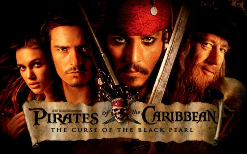 Movie, Pirates of the Caribbean: The Curse of the Black Pearl(美國, 2003年) / 神鬼奇航:鬼盜船魔咒(台灣) / 加勒比海盗(中國) / 魔盜王決戰鬼盜船(香港), 電影海報, 美國, 橫版