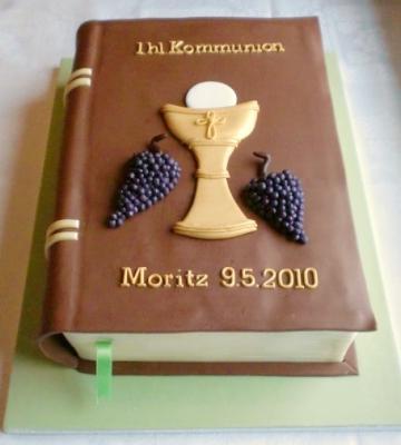 Buch Torte zur Kommunion in schoko braun  Motivtorten