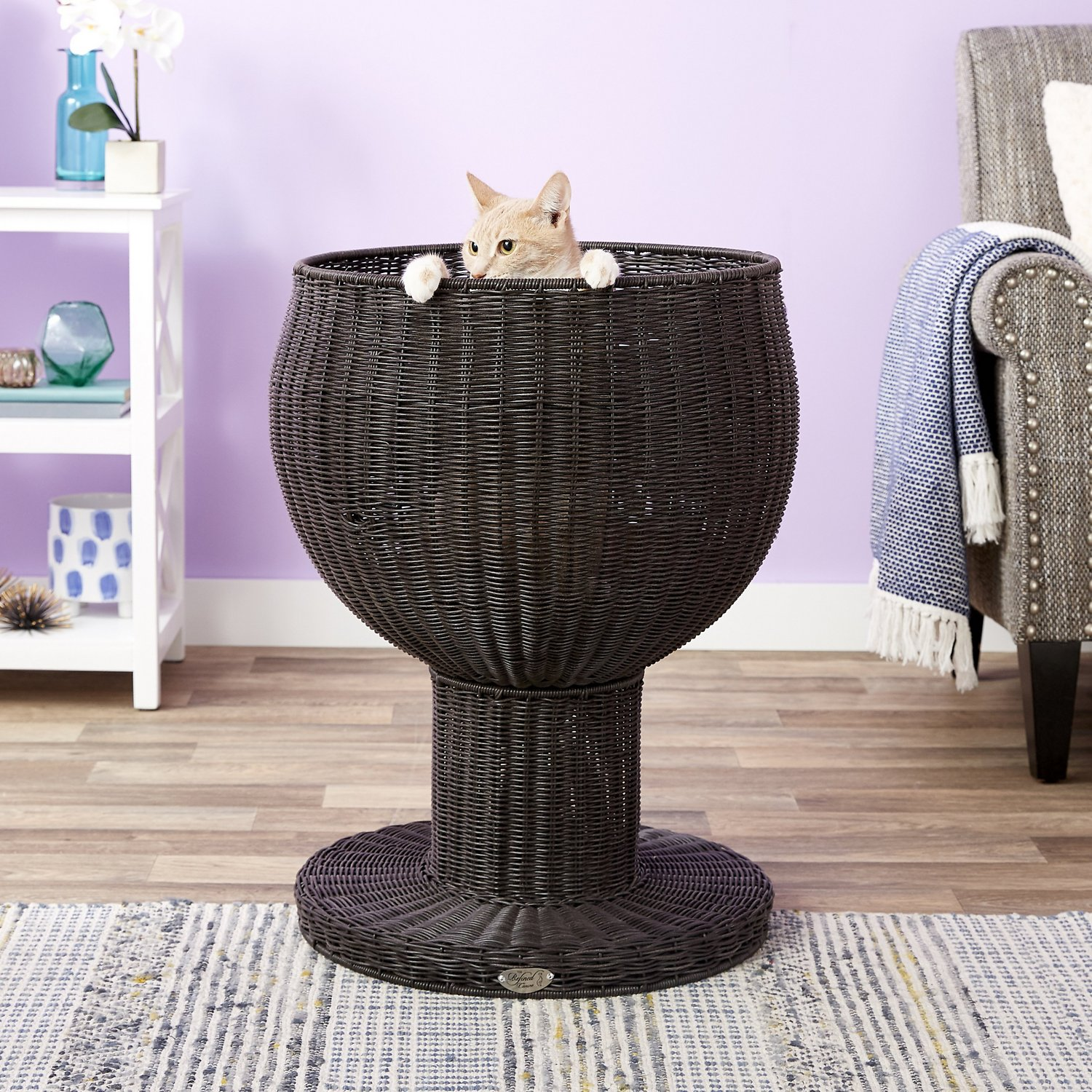 The Refined Feline Kitty Ball Cat Bed Espresso  Chewycom