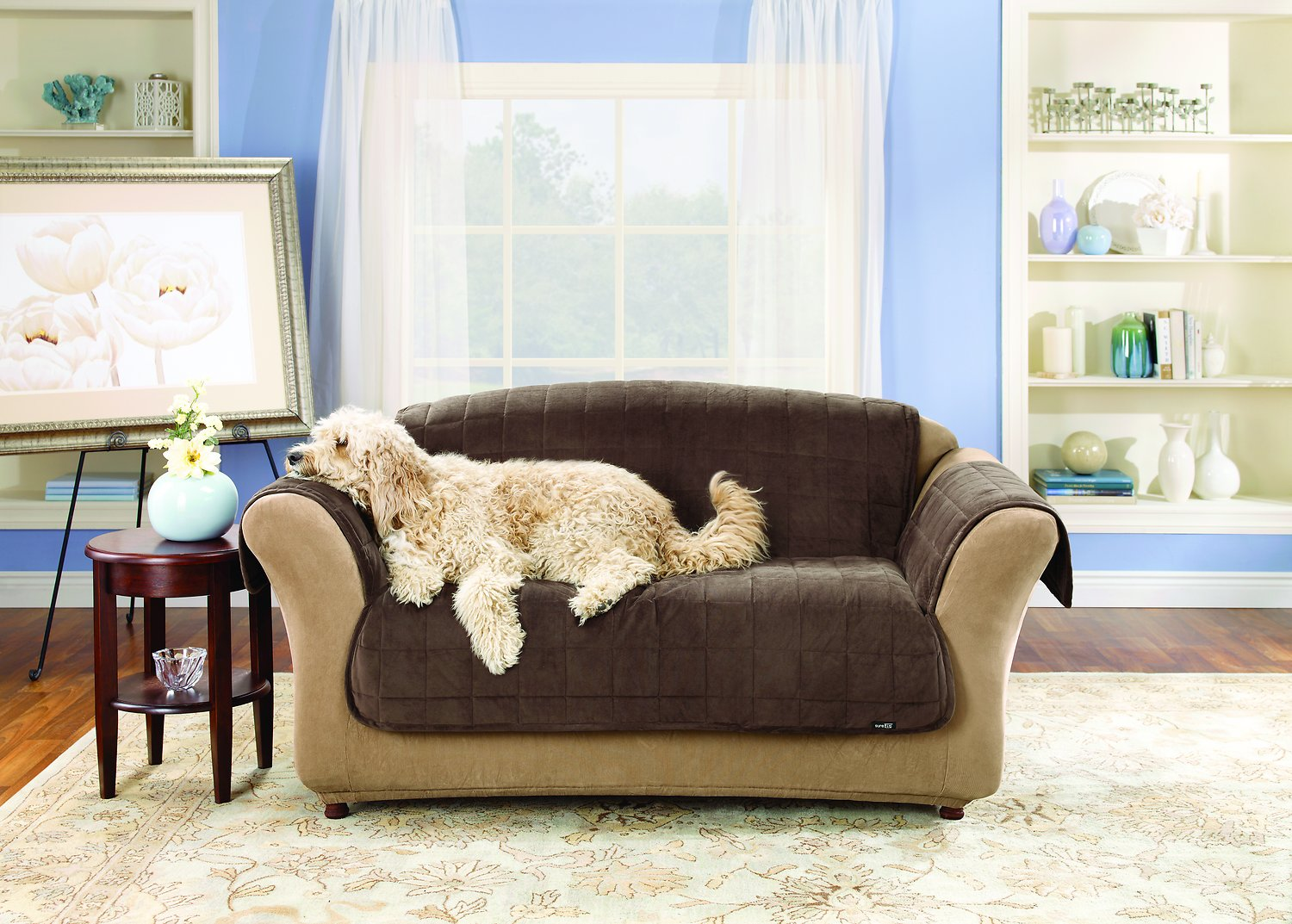 horse sofa slipcovers vilasund bed with chaise cover sure fit deluxe loveseat chocolate chewy