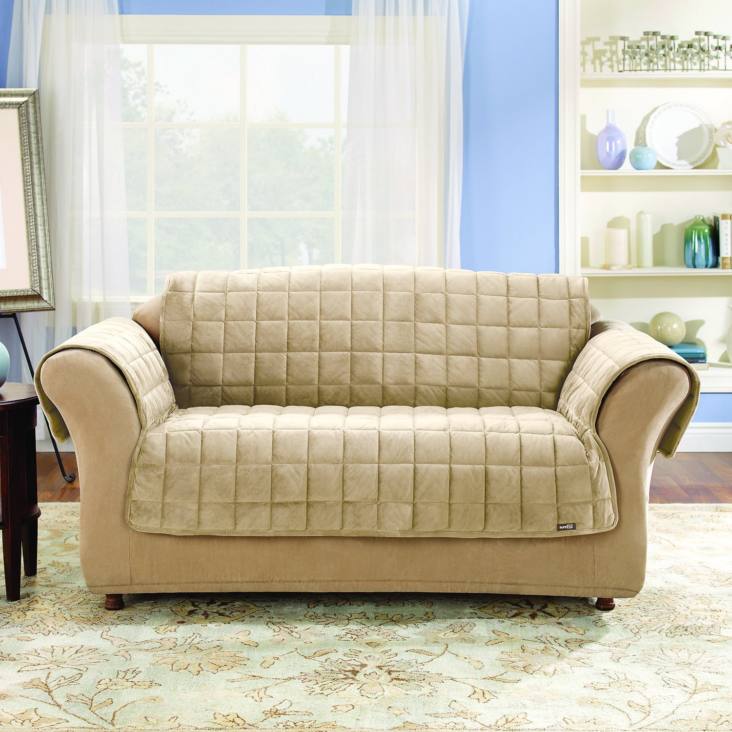 ivory sofa cover light blue throws sure fit deluxe chewy