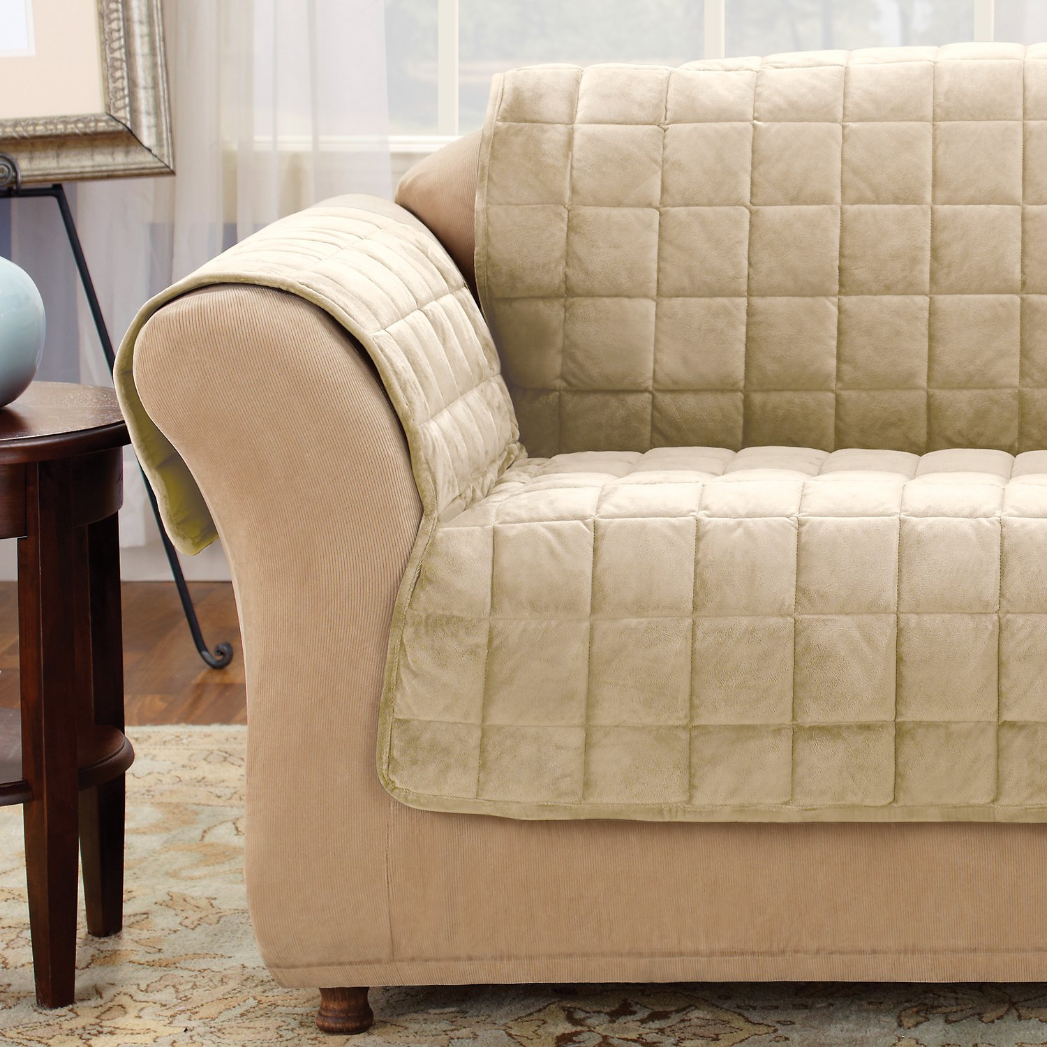 ivory sofa cover traditional leather reclining sure fit deluxe chewy