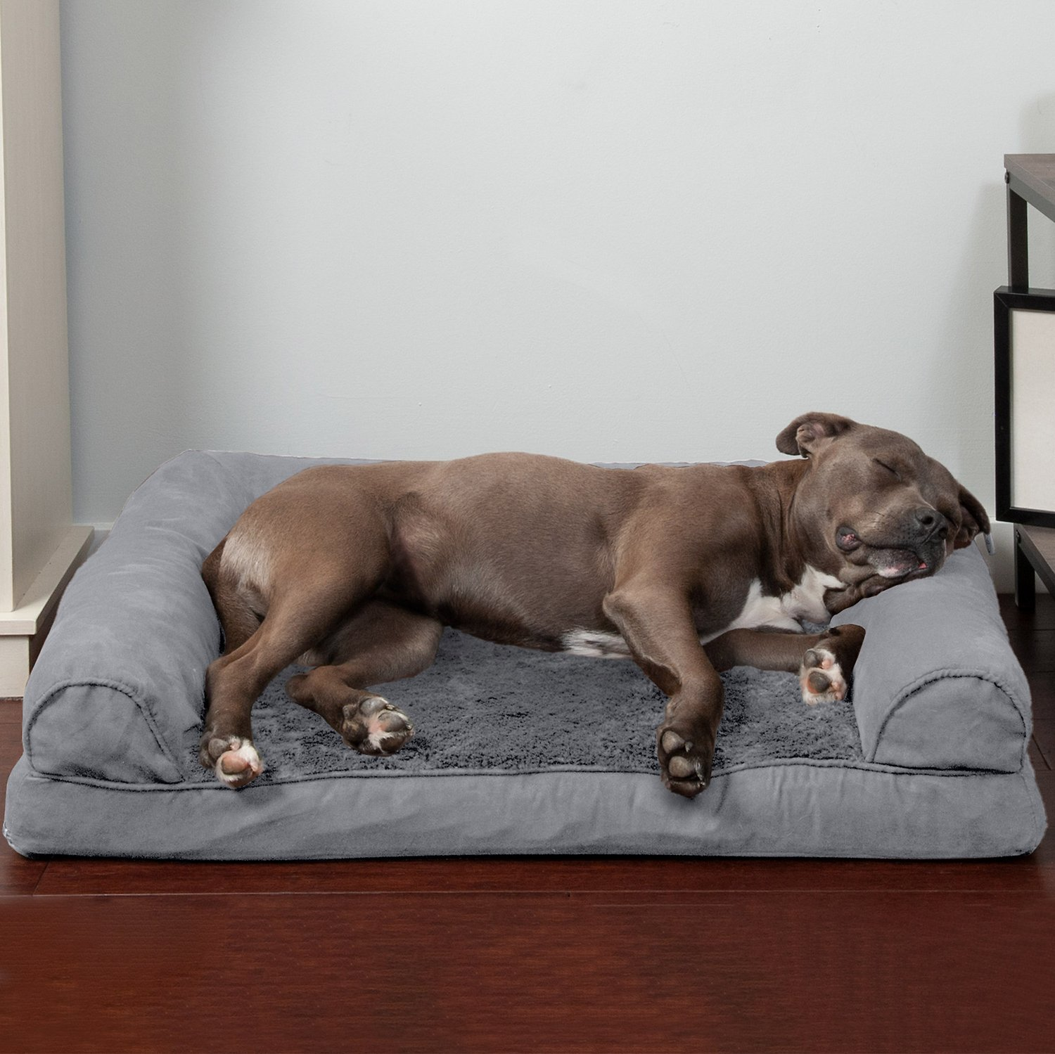large plush sectional sofa diamond park ave wingback bed furhaven and suede orthopedic dog cat gray