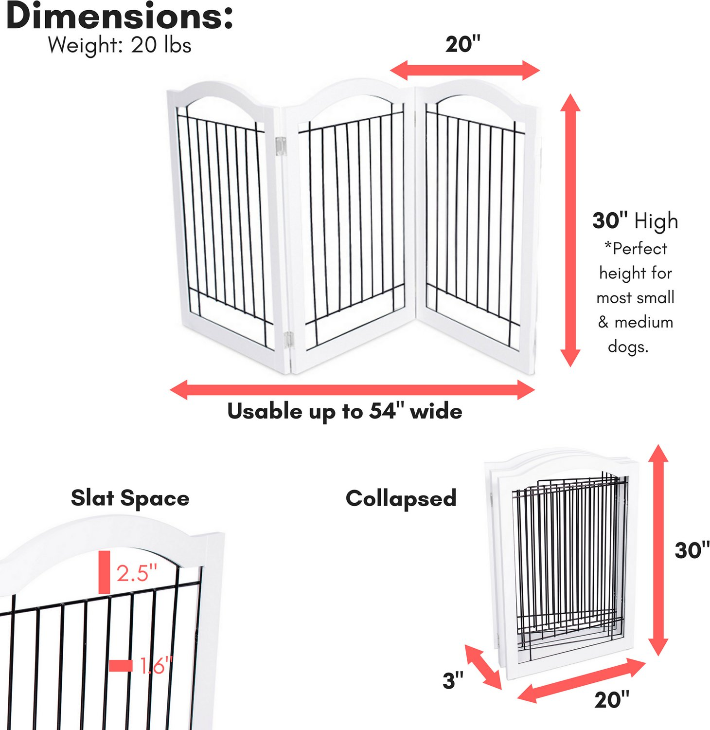 Internet's Best Arched Top Wire Dog Gate, 30-in, White, 3