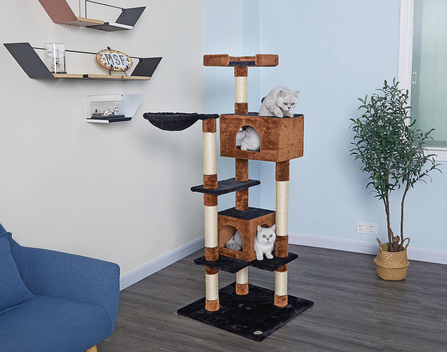 Go Pet Club 61 In Cat Tree House Brown Black Chewy Com