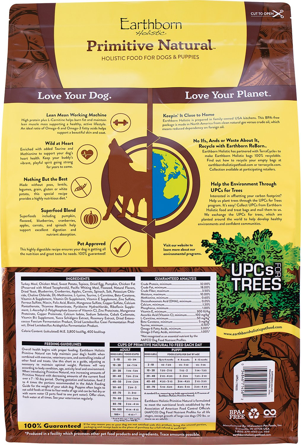 Best Grain Free Dog Food Without Peas And Legumes : grain, without, legumes, EARTHBORN, HOLISTIC, Primitive, Natural, Grain-Free, Food,, 25-lb, Chewy.com