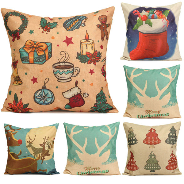 sofa box cushion covers 6 piece sectional set favorable christmas tree socks cartoon printed pillow cases home square cover