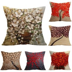 Large Square Sofa Cushions Carlyle Beds Outlet Favorable Sofo 3d Creative Oil Tree Painting Cotton Linen Pillowcase Decor Soft Chair Cushion Cover