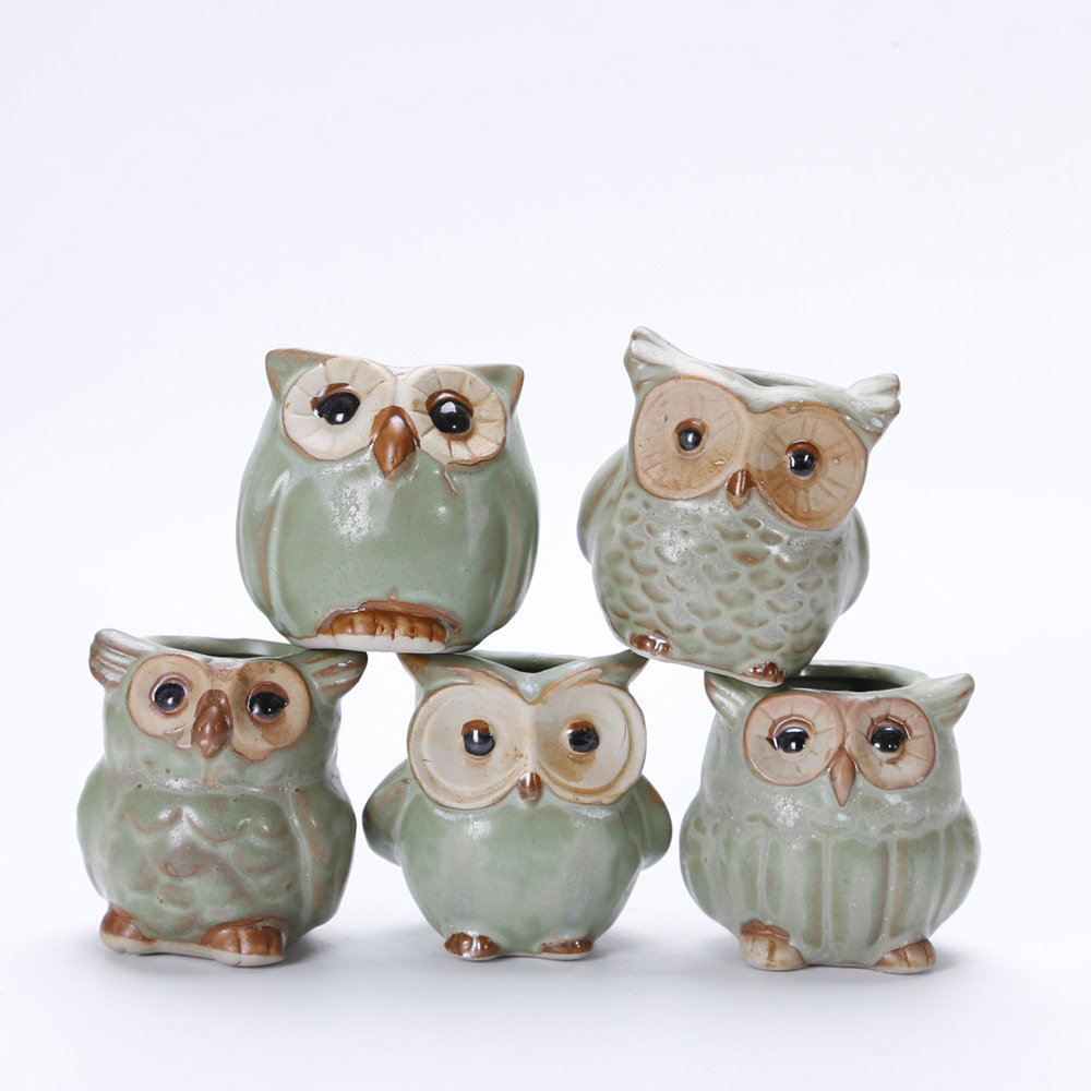 Cute Owl Decor Mini Cute Owl Ceramic Succulent Plant Pot Flower Planter Container Home Decor