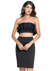 black one size Black Ruffle Two-piece Skirt Set - Chicuu