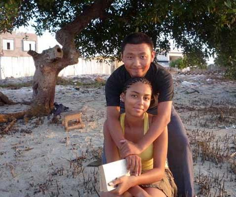 A Chinese and African husband and wife in Congo.