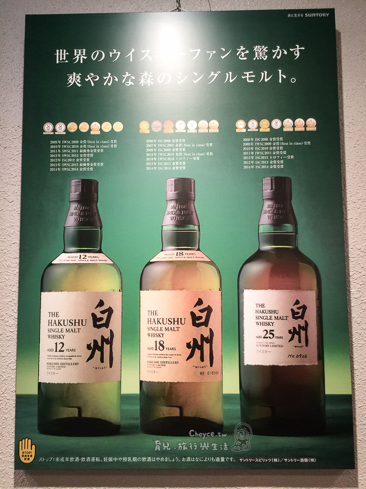 (日本山梨縣) 白州蒸溜所 威士忌酒廠免費參觀見學 試飲超人氣Suntory頂級威士忌酒 - Choyce寫育兒,旅行與生活