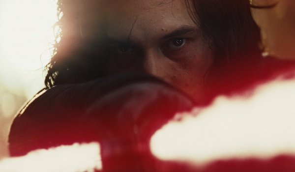 Star Wars: The Last Jedi Kylo Ren aiming his saber intensely