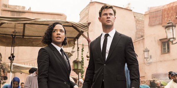 Tessa Thompson and Chris Hemsworth as Agent M and Agent H in Men In Black International