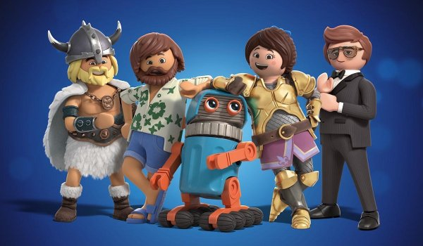 Playmobil: The Movie all the figures lined up for the camera