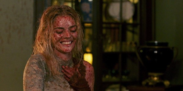 Samara Weaving laughing and covered in blood in Ready or Not