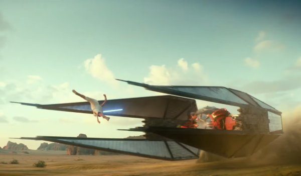 Star Wars: The Rise of Skywalker Rey does a sick flip, attacking a TIE fighter with a lightsaber