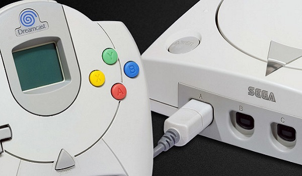 A sega Dreamcast and controller