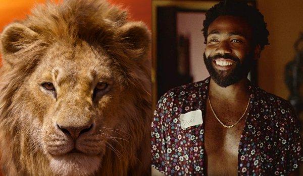 Le roi lion Simba et Donald Glover côte à côte