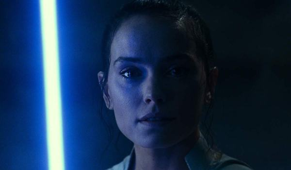 Rey with lightsaber in Star Wars: The Rise of Skywalker