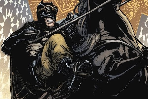 Batman #33 Knightmare outfit on horseback