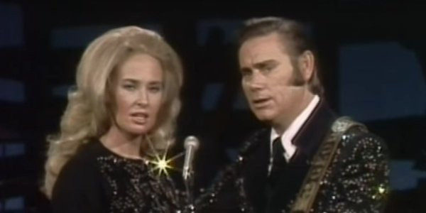 "Tammy Wynette and George Jones performing ""The Ceremony"""