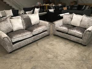 ex display sofa bed birmingham how hard is it to keep a white leather clean premium quality double grey crushed velvet fabric | posot ...