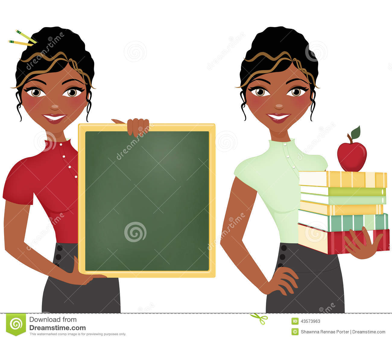 hight resolution of african american teacher double clip art set holding books and apple