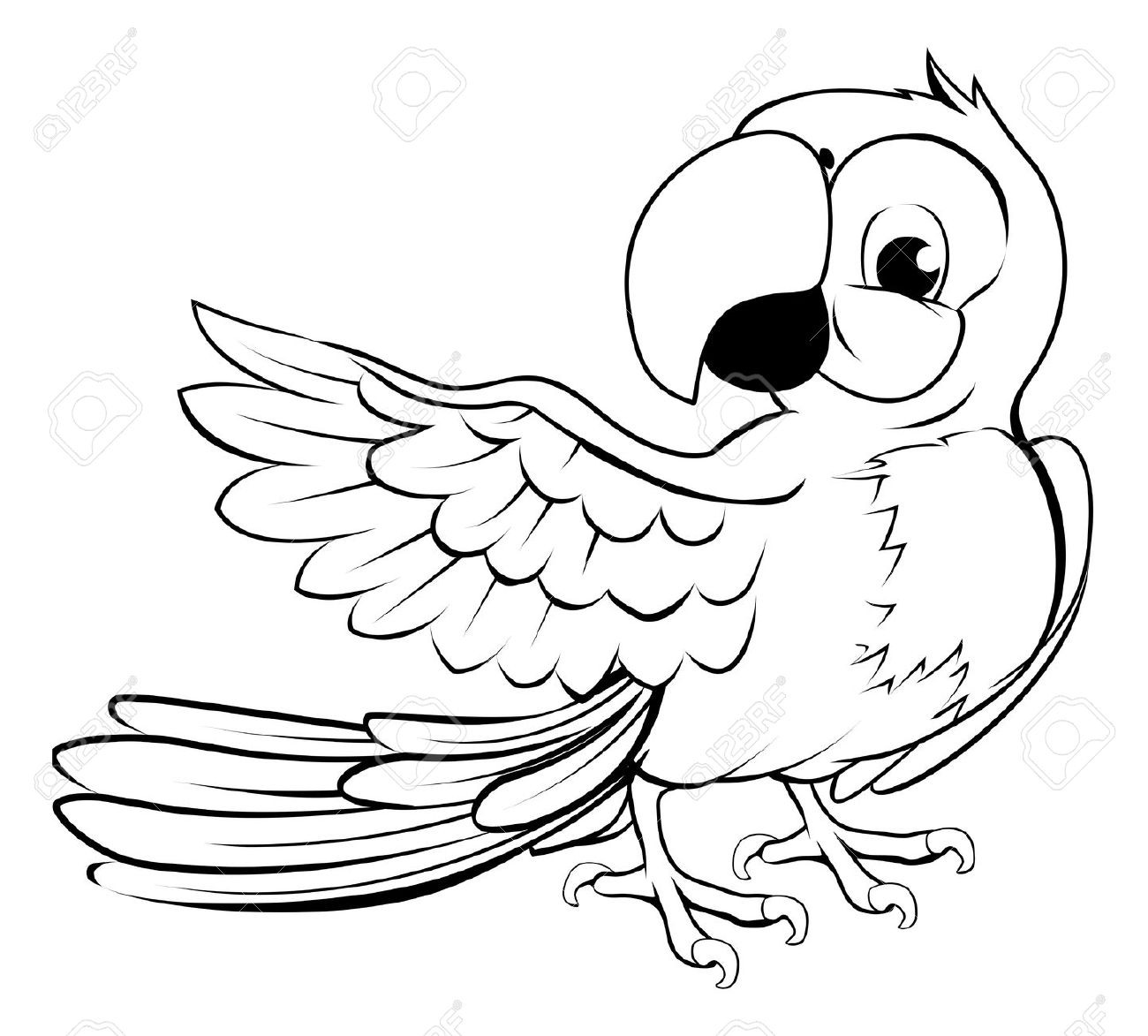 37 Parrot Clipart Black And White