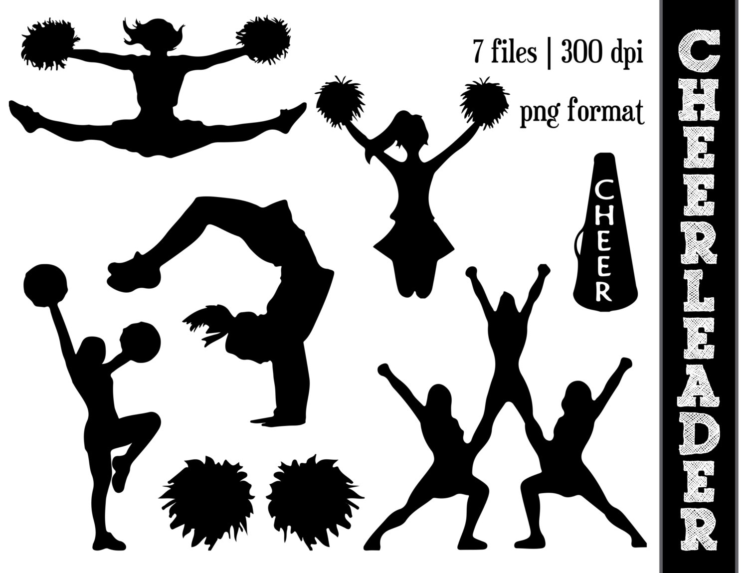 hight resolution of cheerleader silhouettes ch cheer clip art free