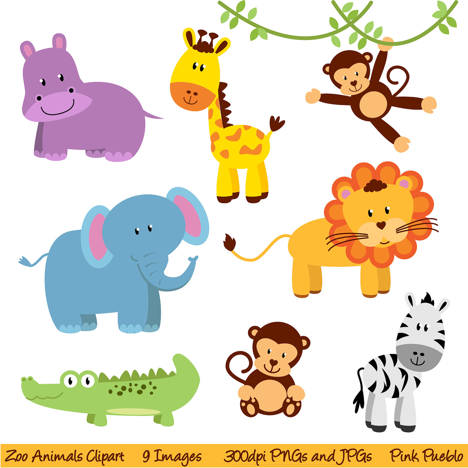 hight resolution of cute baby jungle animals