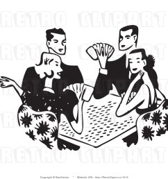 free black and white retro ve clip art playing cards [ 1024 x 1044 Pixel ]