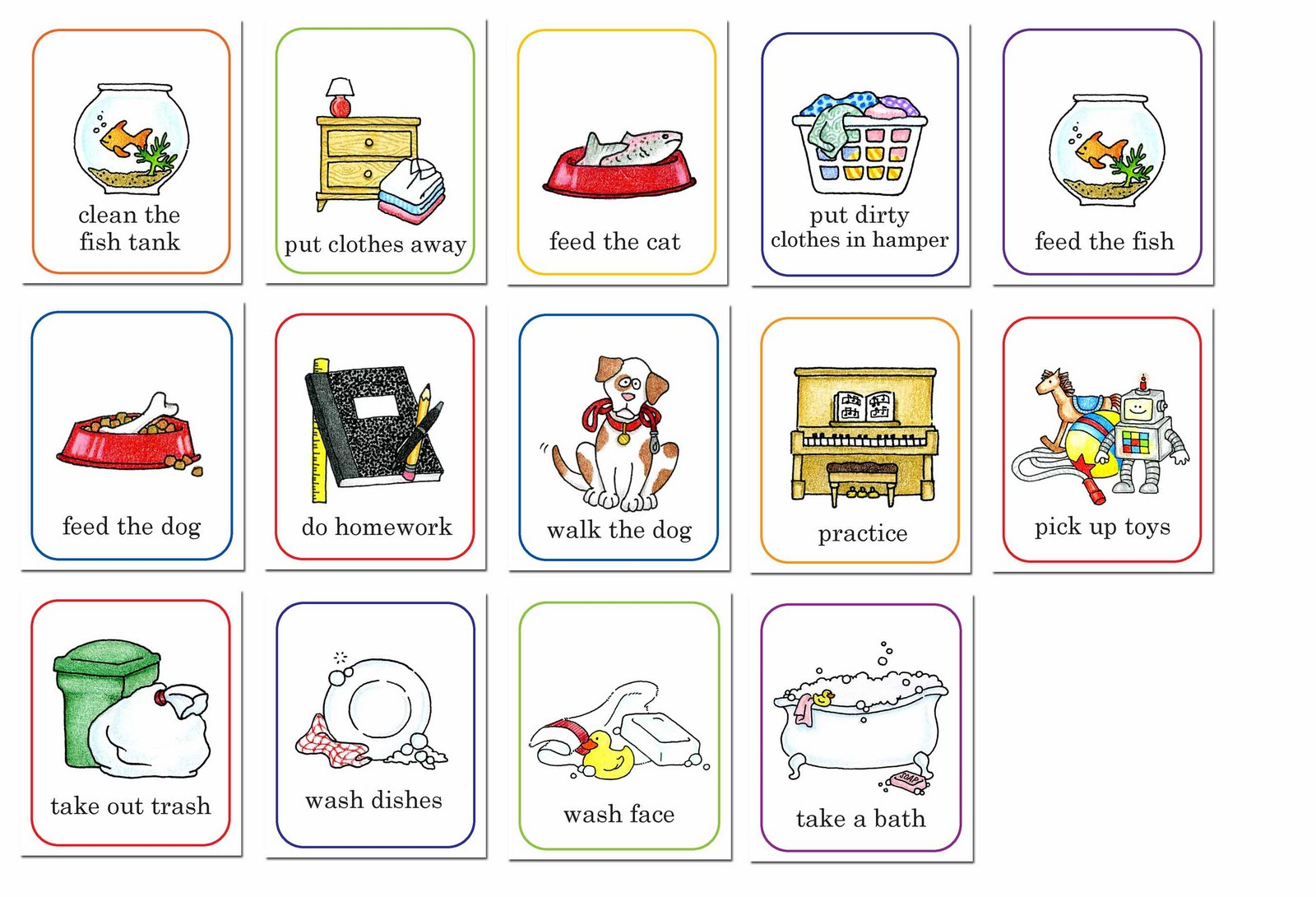 hight resolution of chore chart clip art