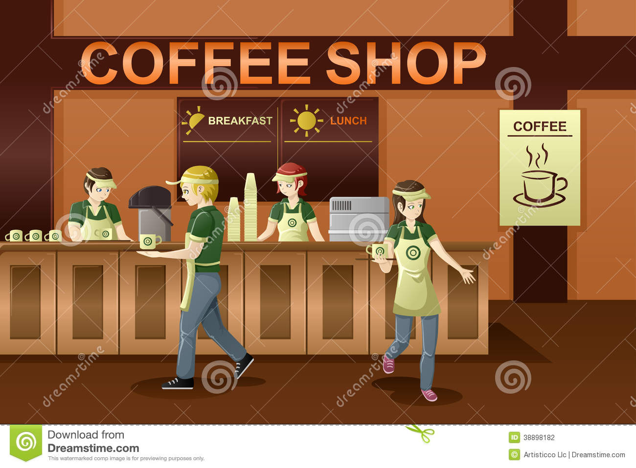 hight resolution of people working in a coffee sh coffee shop clipart