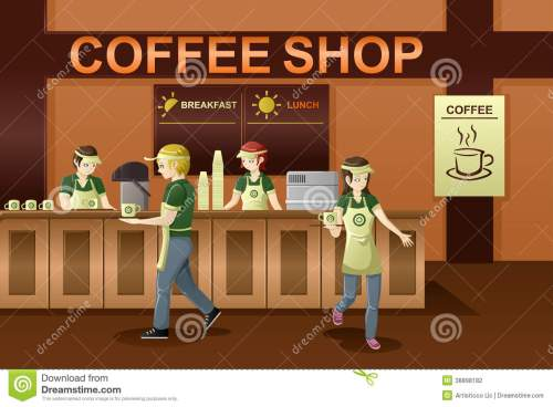 small resolution of people working in a coffee sh coffee shop clipart