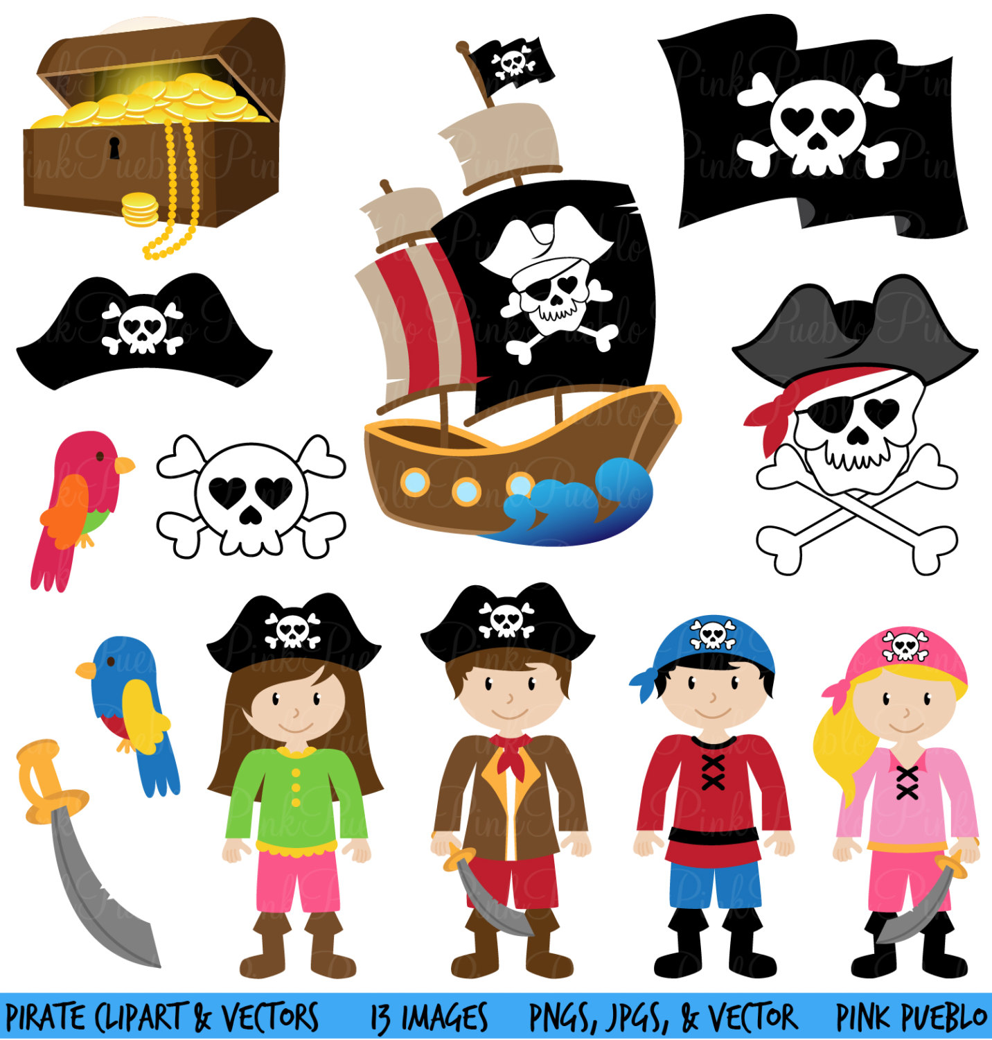 hight resolution of pirate clipart clip art and vectors commercial and by pinkpueblo