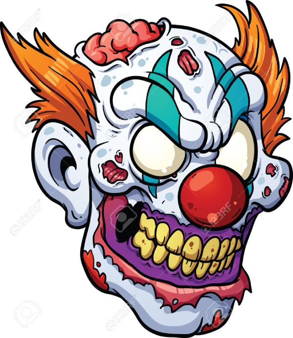 scary clown clipart & clip