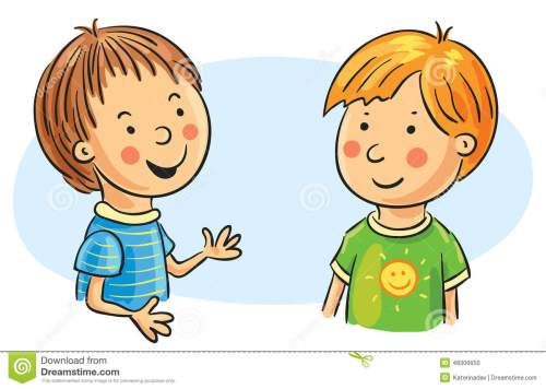 small resolution of two cartoon boys talking no g talking clipart
