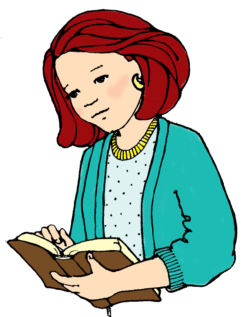 hight resolution of woman reading clipart
