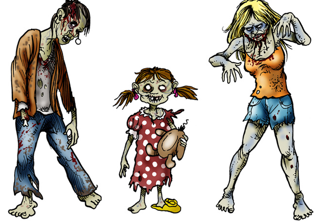 free zombie clipart look