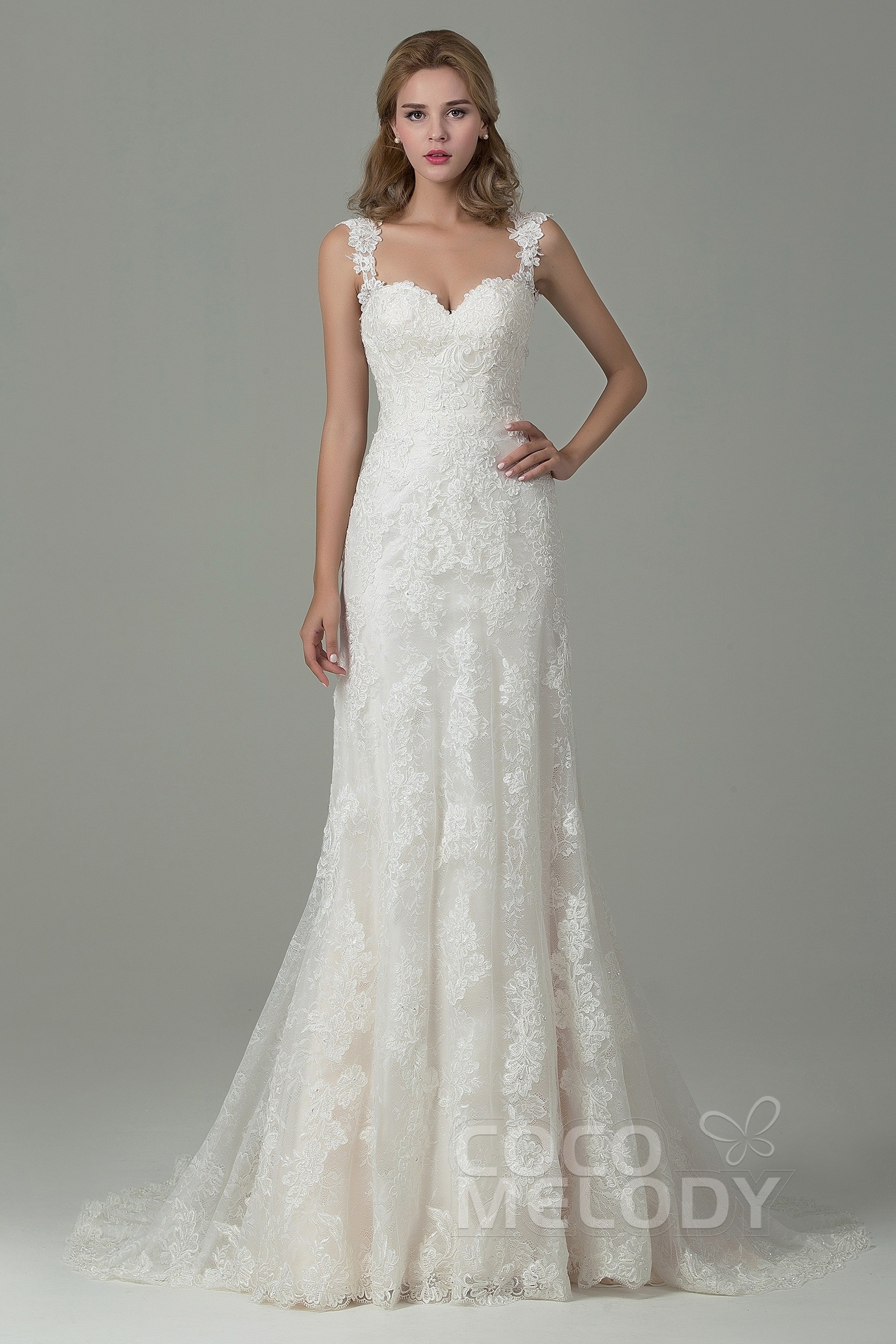SheathColumn Straps Court Train Wedding Dress CWVT15002