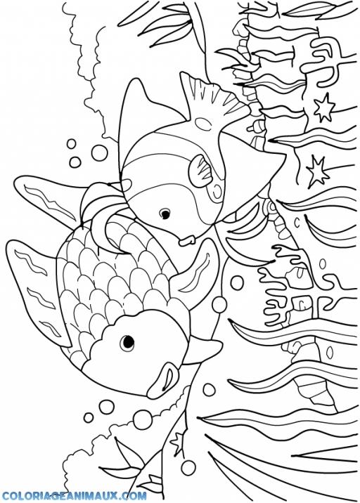 Coloriage famille de poissons dans la mer à imprimer
