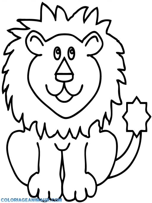 Coloriage lion qui va chasser à imprimer