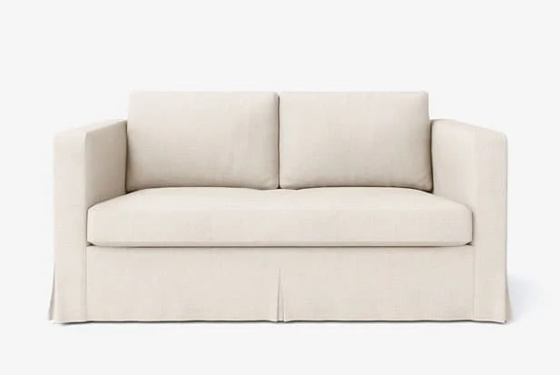 how much fabric to make a sofa cover abbyson living harbor premium semi aniline leather ikea custom couch slipcover maker comfort works example of long skirt multi pleated with liege biscuit