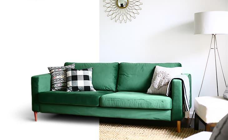 leather sofa covers ready made uk palettensofa kissen indoor ikea cover custom couch slipcover maker comfort works karlstad in velvet green rouge emerald slipcovers