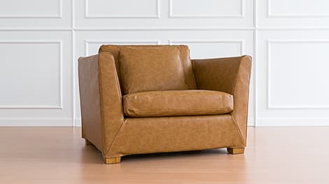 ikea orange chair covers sling patio furniture replacement armchair dining guaranteed fit stockholm savannah saddle bycast leather couch slipcover